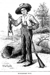 Huckleberry Finn, as depicted by E. W. Kemble in the original 1884 edition of the book.